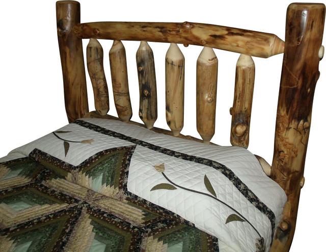 rustic aspen log king size headboard only  rustic  headboards, Headboard designs