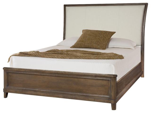American Drew Park Studio California King Upholstered Sleigh Bed, Light Oak.
