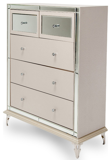 Hollywood Loft Upholstered 5 Drawer Chest In Frost.