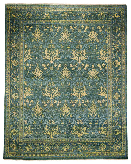 Arts and crafts wool area rug teal 8x10 area rugs by for Arts and crafts style rug