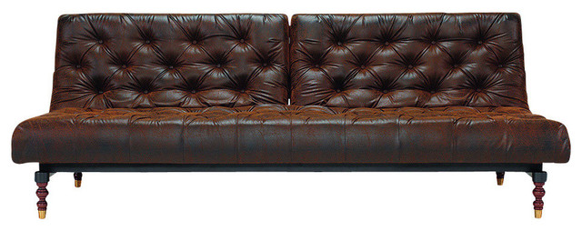 Old School Chesterfield Sofa, Brown Vintage Leatherette, Dark Wood  transitional-sleeper-sofas - Old School Chesterfield Sofa - Transitional - Sleeper Sofas - By