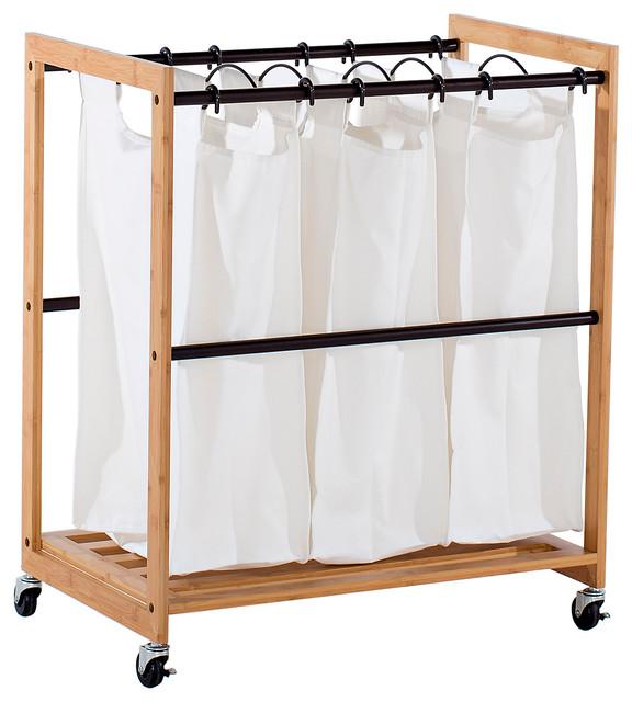 Trinity Ecostorage 3-Bag Bamboo Laundry Cart, Bronze Poles