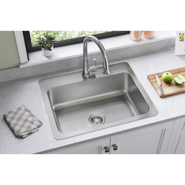 "DSESR127221 Dayton Stainless Steel 27"" x 22"" x 8"", Dual Mount Sink, 1 Hole"