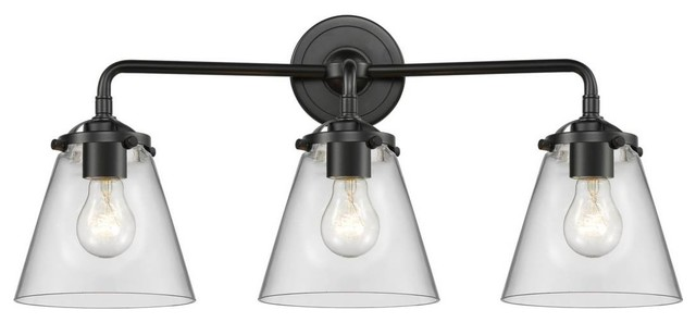 Oil Rubbed Bronze Small Cone 2-Light Bathroom Fixture With Vintage LED Bulbs
