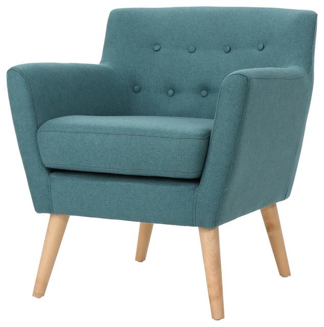 Madeira Buttoned Mid Century Modern Dark Teal Fabric Club Chair, Dark Teal