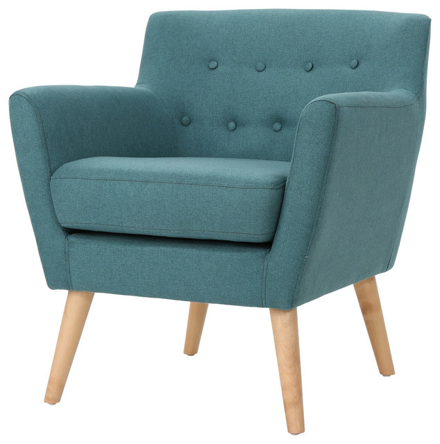 Madeira Buttoned Mid Century Modern Dark Teal Fabric Club Chair, Dark Teal  Midcentury Armchairs