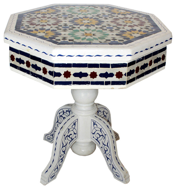 Moroccan Hand-Painted Tile Top Coffee Table