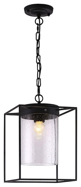 Matte Black Pendant Light With Metal Box Frame and Cylinder Glass transitional-pendant-lighting  sc 1 st  Houzz & Matte Black Pendant Light With Metal Box Frame and Cylinder Glass ... azcodes.com