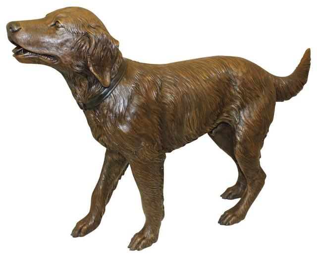 Golden Retriever Dog Standing Bronze Statue