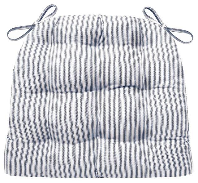 Ticking Stripe Navy Blue Dining Chair Pads Farmhouse
