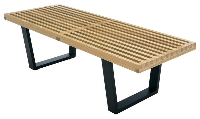 Nelson Style Platform Bench Solid Wood 4ft Natural Ash Midcentury Accent And Storage