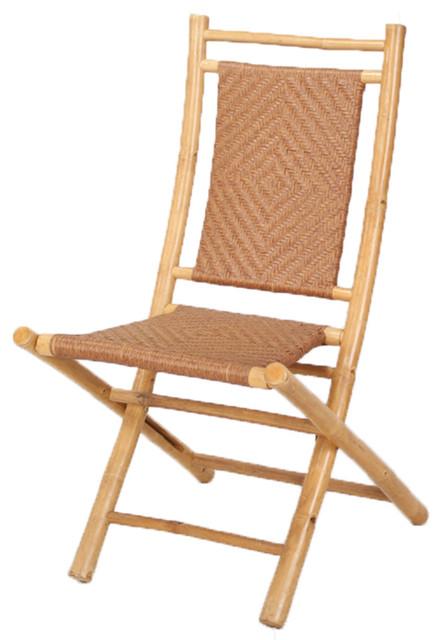 Bon Halawa Folding Bamboo Chair With Polyrattan Diamond Weave, Natural/Tan