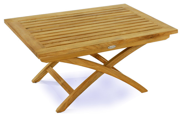 Folding teak coffee table coffee tables orange county for Orange outdoor side table
