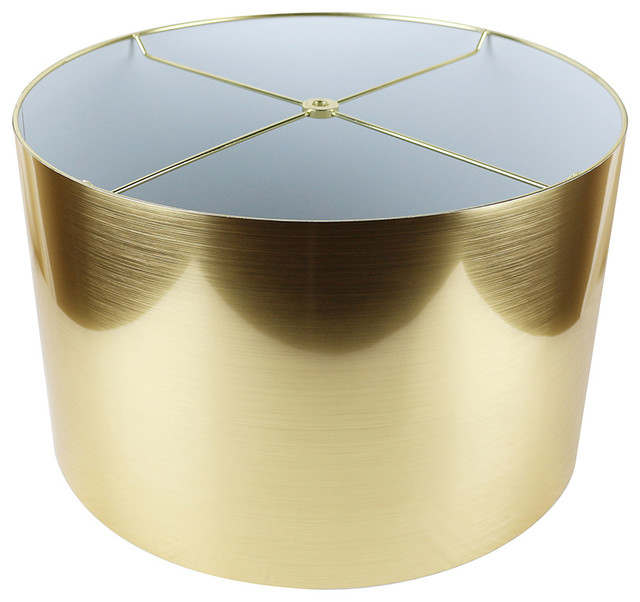 "Classic Drum Metallic Lampshade, 16""x16""x10"", Gold"