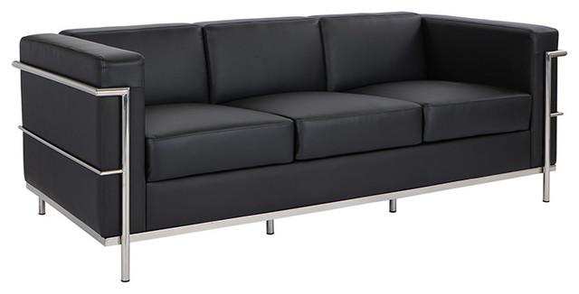 Leather Sofa, Black Bonded Leather With Chrome Frame
