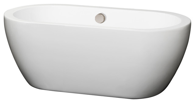 Soho 60 Center Drain Soaking Tub White With Brushed Nickel