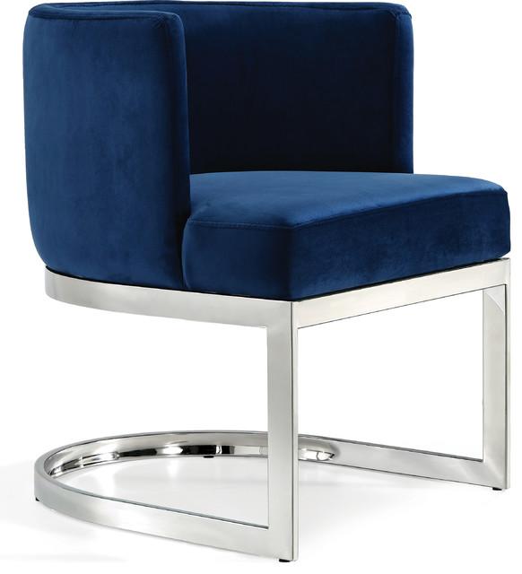 Gianna Velvet Dining Chair, Navy, Chrome Base