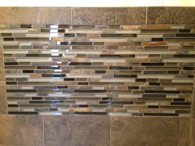 Slate Subway Tile With Glass Mosaic Vanity Backsplash And Accent Contemporary