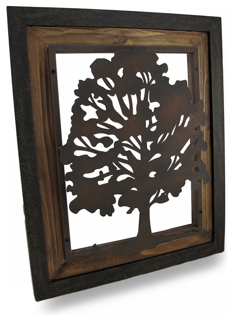 metal rustic finish tree silhouette on wood frame wall. Black Bedroom Furniture Sets. Home Design Ideas