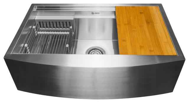 """AKDY 33""""x22""""x9"""" Apron Farmhouse Handmade Stainless Steel Kitchen Sink"""