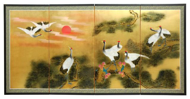 """36"""" Gold Leaf Sunset Cranes"""