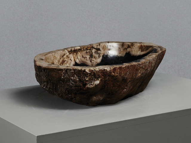 Small Stone Sink : Small Petrified Wood Stone Basin - Rustic - Bathroom Sinks - London ...