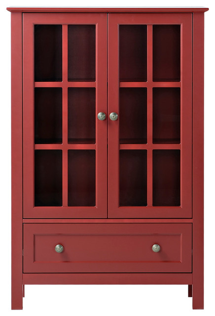 Bon Homestar 2 Door/ 1 Drawer Glass Cabinet, Red