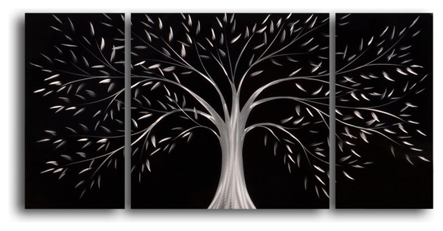 """Gothic Wall Decor moonlit gothic tree"""" metal wall art, 40""""x20"""" - contemporary"""