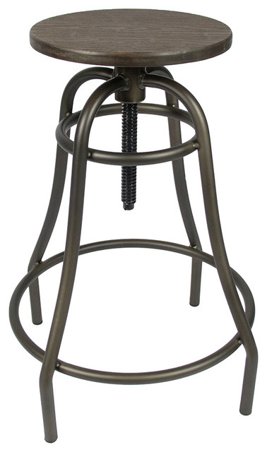 Adjustable Counter Stool With Natural Bamboo Top Industrial Bar Stools  And Counter