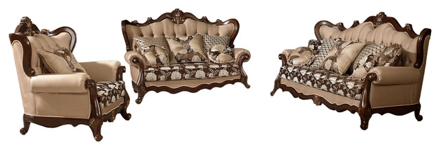 Netherlands Traditional Living Room Collection 3 Piece Set Victorian