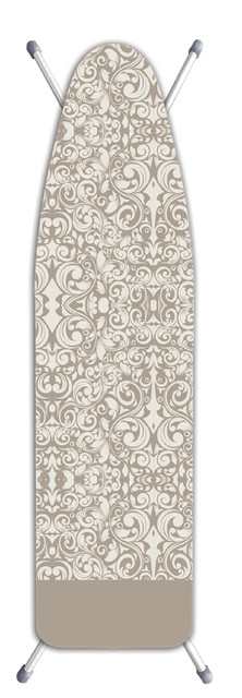 Deluxe Extra Thick Ironing Board Cover Damask Beige