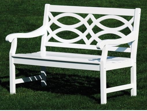 Hennell Eucalyptus White Lattice Back Bench Traditional Outdoor Benches By Lamps Plus