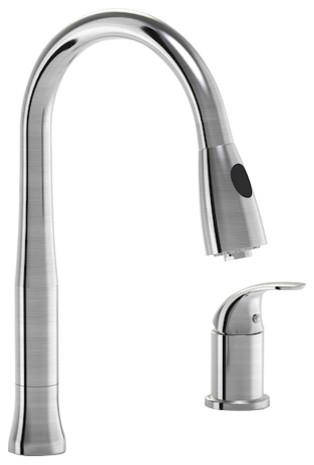 Parmir Double Hole Single Handle Kitchen Faucet, Pull Down Sprayer.