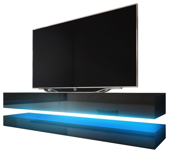 Fly wall mounted floating tv stand 16 colors led fits 60 tv media storage entertainment centers tv stands fly wall mounted floating tv stand 16 colors led fits 60 tv black contemporary sciox Images