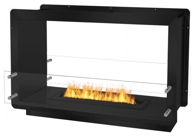 Ignis 39.5 Wide Double-Sided Ethanol Burning Firebox In Black.