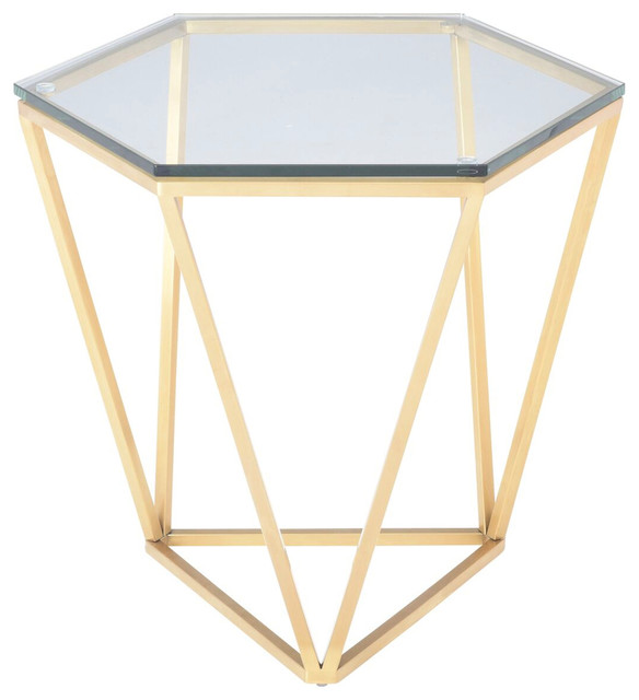 Louisa Side Table, Glass Top End Table, Hexagon Diamond
