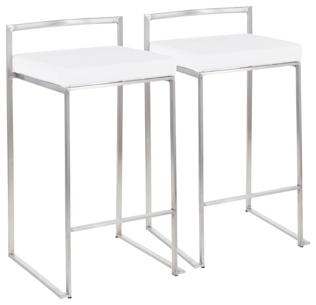Fuji Contemporary Stackable Counter Stool in Stainless Steel with White Velvet C