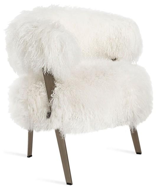Adele Lounge Chair in Ivory Sheepskin