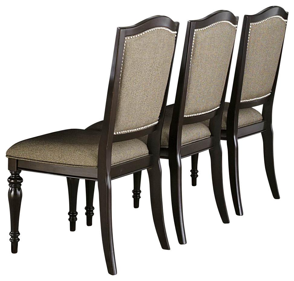 Fabulous Homelegance Marston Side Chair With Neutral Tone Fabric Cover Dark Espresso Machost Co Dining Chair Design Ideas Machostcouk