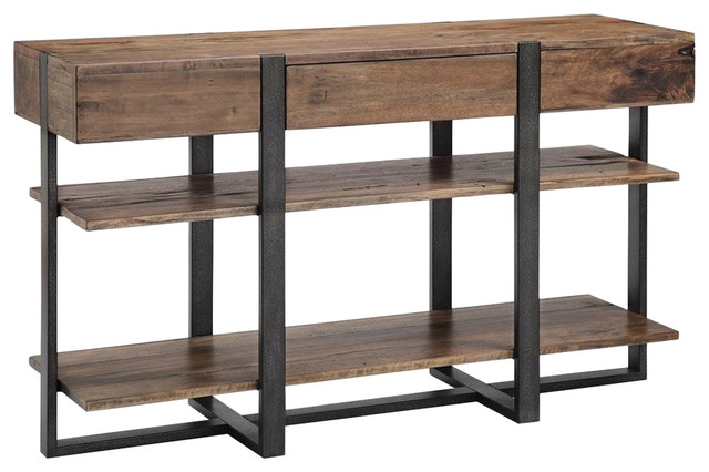 Rectangular Console Table in Distressed Rustic Honey