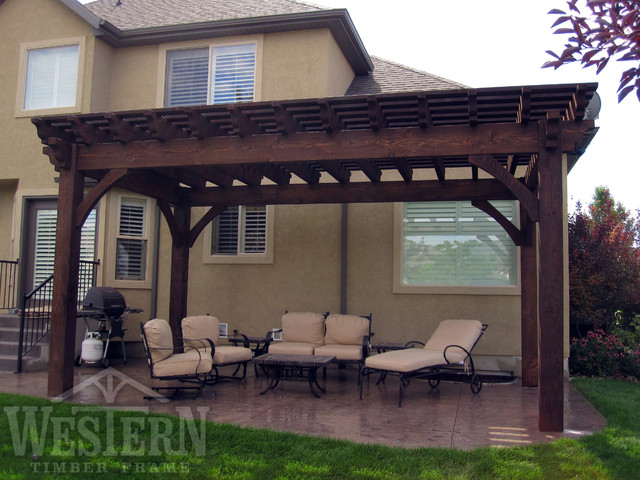 western timber frame decks patios outdoor enclosures family size pergolas traditional patio