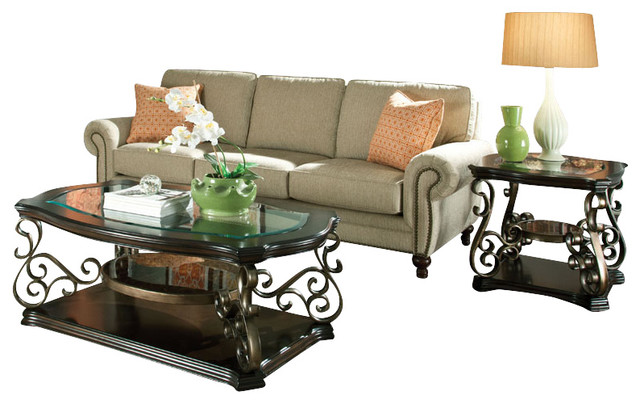 Standard Furniture Seville 3 Piece Coffee Table Set With Burnished Bronze Base Traditional