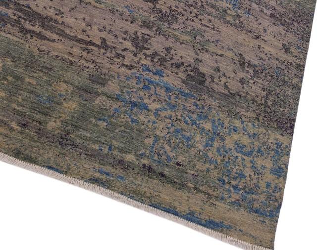 Abstract Sisco Grey Blue Wool Rug