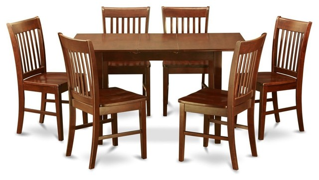 Terrific Mission Style 7 Piece Dining Set In Mahogany Wood Finish Download Free Architecture Designs Grimeyleaguecom