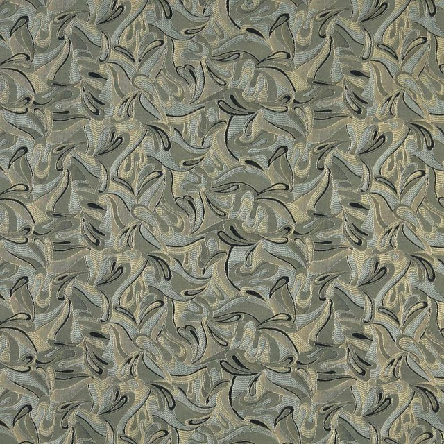 Black Blue And Green Abstract Contemporary Upholstery Grade Fabric By The Yard