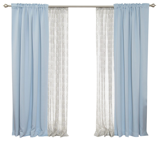 Faux Linen Diamante & Blackout Mix & Match Curtains, Sky Blue/black.