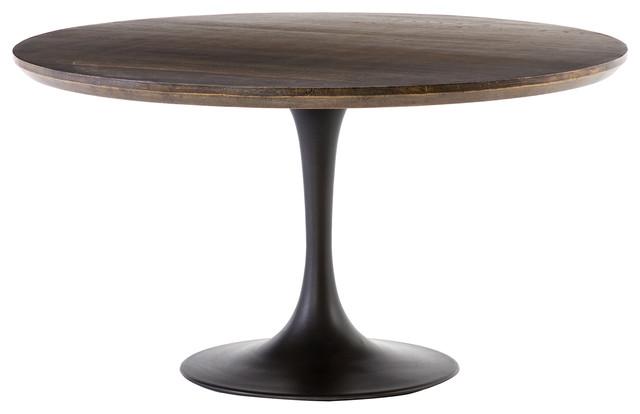 Perry Modern Round Dark Oak Top Black Tulip Pedestal Dining Table - 55\