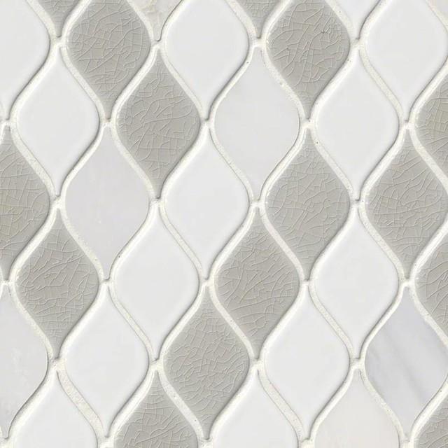 "12""x12"" Cresta Blanco 8mm Pattern Porcelain Mosaic, Set of 10"