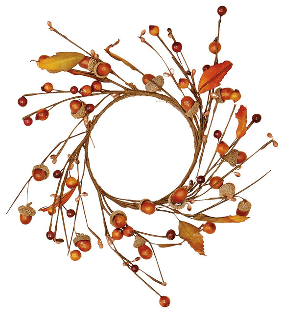 """4.25"""" Acorn And Leaf Candle Ring."""