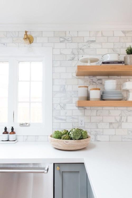 Superb Marble Backsplash And Wood Floating Shelves Installation